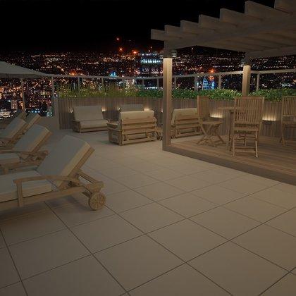 Vista da cidade terraço Rooftop