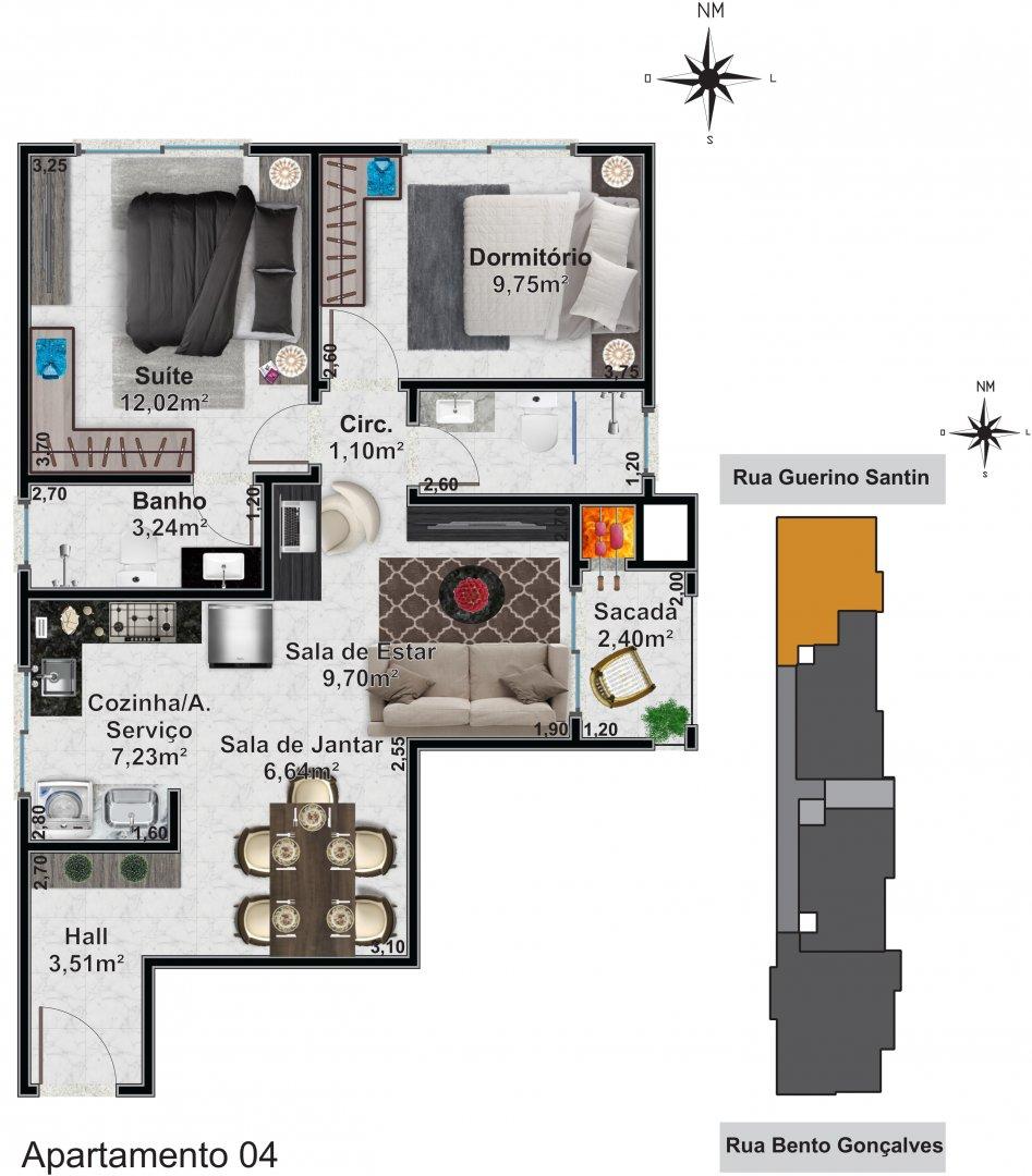 Apartamento 04: 2 dormitórios, 1 suítes, 1 banh. social