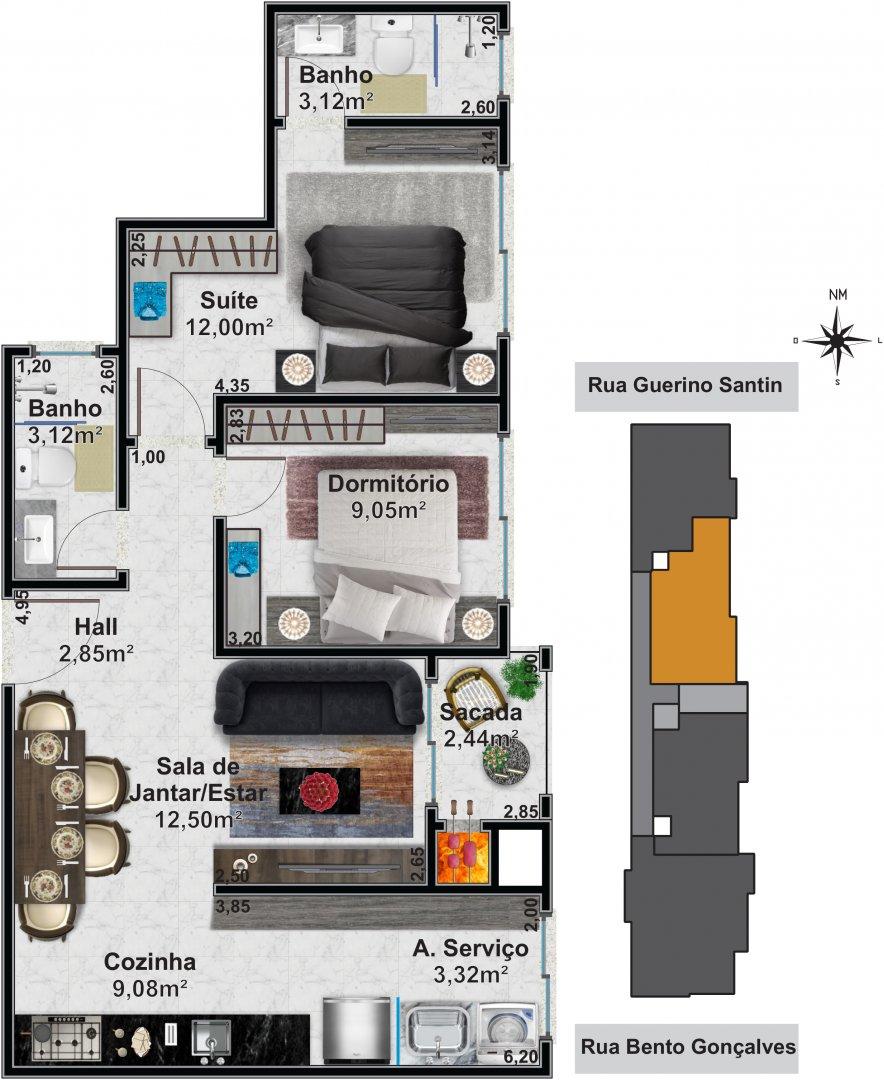 Apartamento 03: 1 dormitórios, 1 suítes, 1 banh. social
