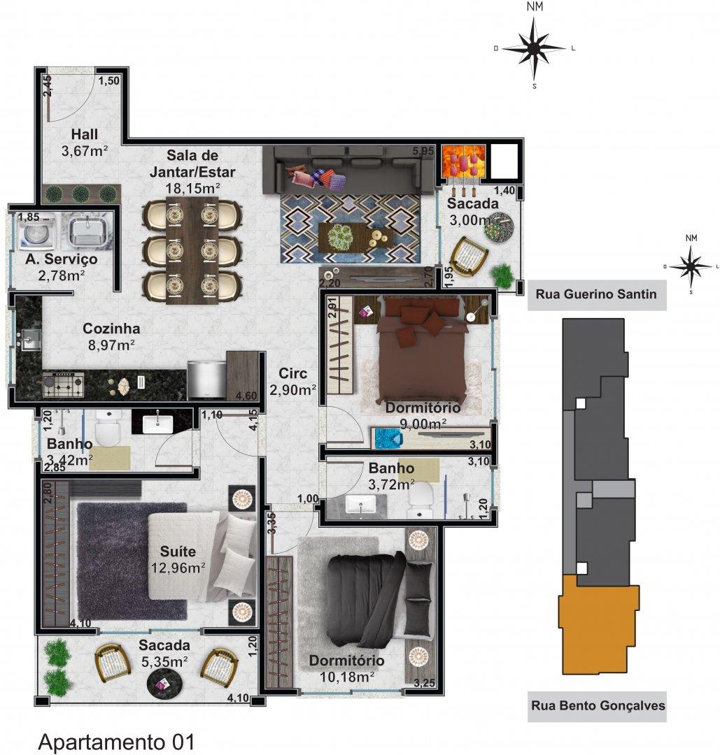 Apartamento 01: 1 dormitórios, 1 suítes, 1 banh. social